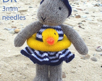 bunny rabbit in swimsuit  PDF email knitting pattern