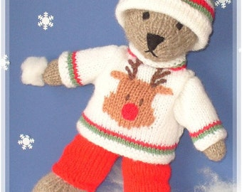 Knitting Patterns For Teddy Bear Outfits : winter teddy bear with christmas sweater clothes PDF email