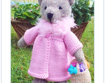 Bessie  teddy bear with  clothes  PDF email knitting pattern