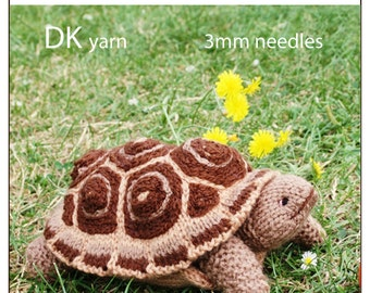tortoise turtle PDF email toy knitting pattern
