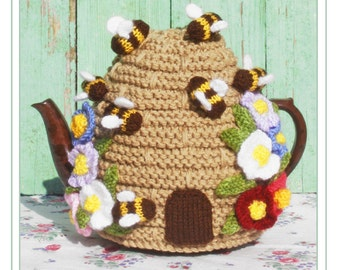 beehive knitting pattern bee hive skep tea cosy teacozy cozy cosies PDF email