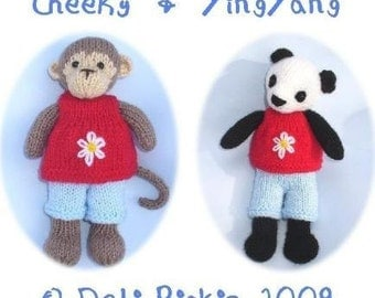 monkey panda bear PDF email toy knitting pattern