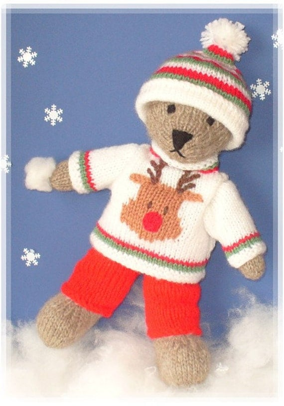 Knitting Pattern For Teddy Bear Jumper : winter teddy bear with christmas sweater clothes PDF email