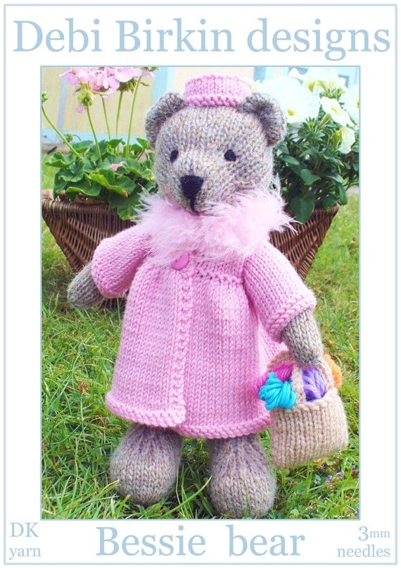 Knitting Patterns For Teddy Bear Outfits : Bessie teddy bear with clothes PDF email knitting pattern