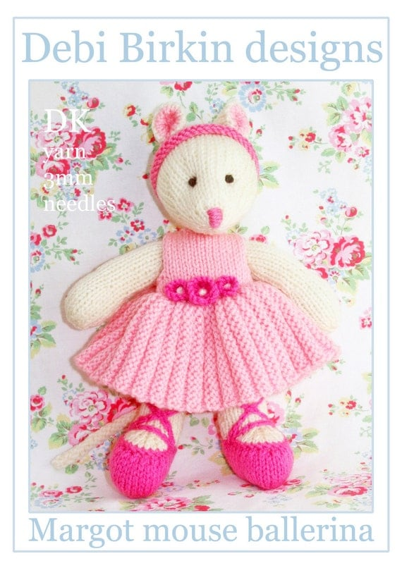 ballerina mouse PDF email toy mice knitting pattern