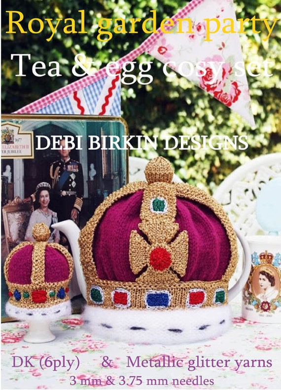 jubilee royal crown tea cosy teacozy cozy cosies egg  PDF email knitting pattern