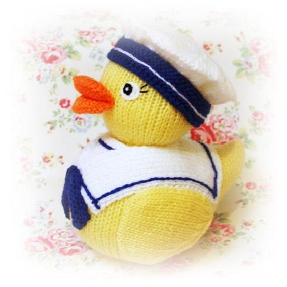 Knitting Pattern Duck Toy : rubber duck seaside sailor PDF email toy knitting pattern