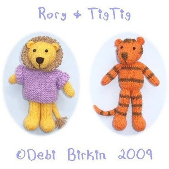 Lion Knitting Pattern Toy : lion tiger cat PDF email toy knitting pattern