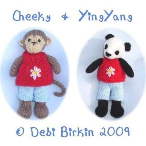 Free Knitting Patterns Panda Toy : monkey panda bear PDF email toy knitting pattern
