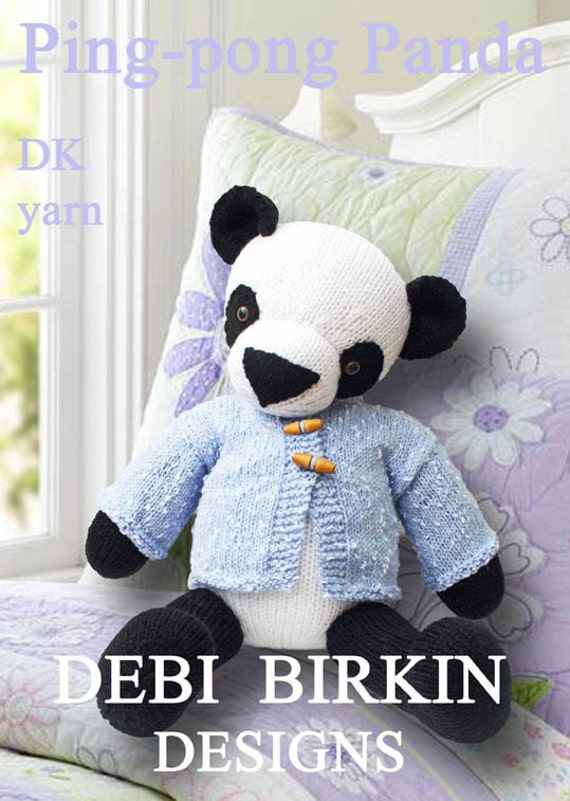Panda bear PDF email toy knitting pattern teddy