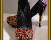 Bling Lady Biker Showgirl Show Girl Black Stilettos Heels Pumps Size 8
