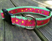 "1"" Adjustable Bright Pink and Green Polka Dot Dog Collar"