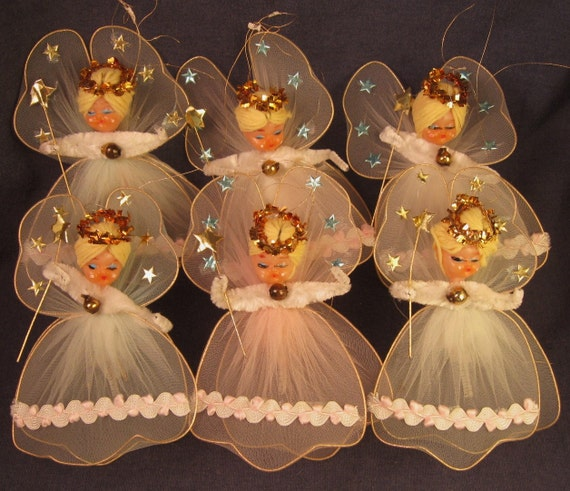 Vintage Tulle Angels Christmas Ornaments Chenille - Set of 6