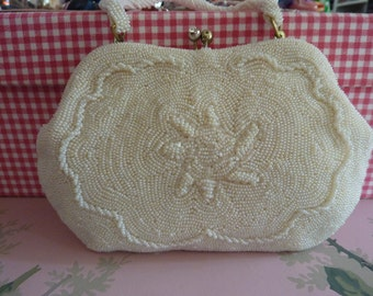 Precious little Vintage 1950's White Beaded Purse-Perfect for Bride