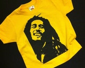 Kids Bob Marley hand silk screen printed Yellow T-Shirt AGE 3-4 years
