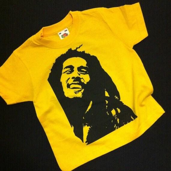 Kids bob marley hand silk screen printed yellow t shirt age for Silk screen t shirt