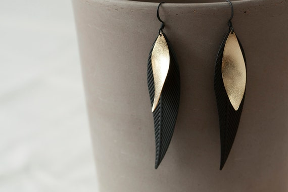 Black Coated Extra Long Feather Pendant-Gold Plated Pendant-Matt-Two layers long Earrings-Cool- Handmade-Fashion-Elegant-Simple