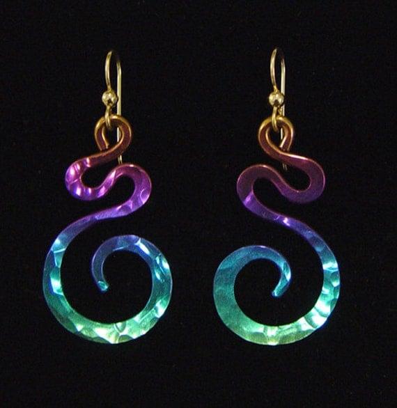 Items similar to Niobium Drop Swirl Earrings on Etsy