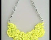Neon Yellow Lace Bib Statement Necklace - 18 inch