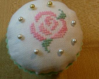 Rose cross stitch cupcake pincushion