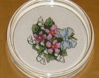 Bouquet cross stitch paperweight/coaster