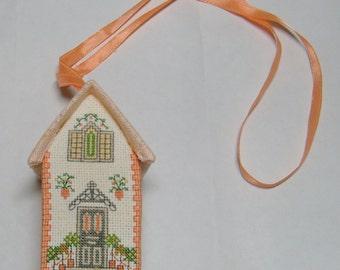 English Townhome Cross Stitch Sachet