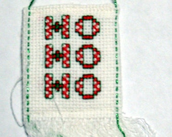 Ho Ho Ho Christmas cross stitch ornament