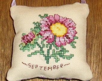 September Aster cross stitch pocket pillow