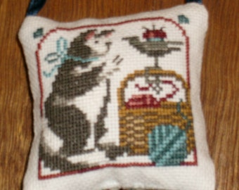 Cat & Basket cross stitch pocket pillow