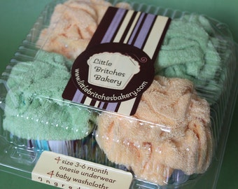 It's a surprise: gender-nuetral four pack of onesie cupcakes, baby shower gift