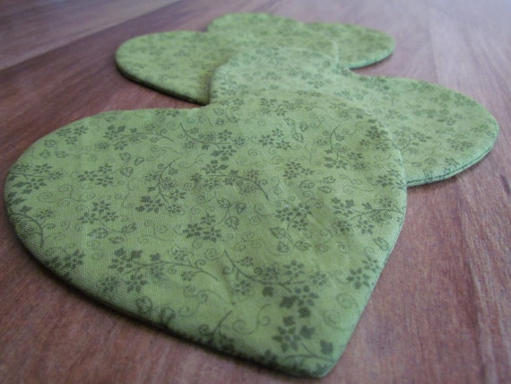 Enchanting Lime and Forest Green Fabric Coaster in a Gorgeous Heart Shape