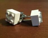 White Lego Cufflinks with Rhinestones