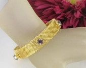 Lilac purple RHINESTONE mesh Buckle Cuff Bracelet