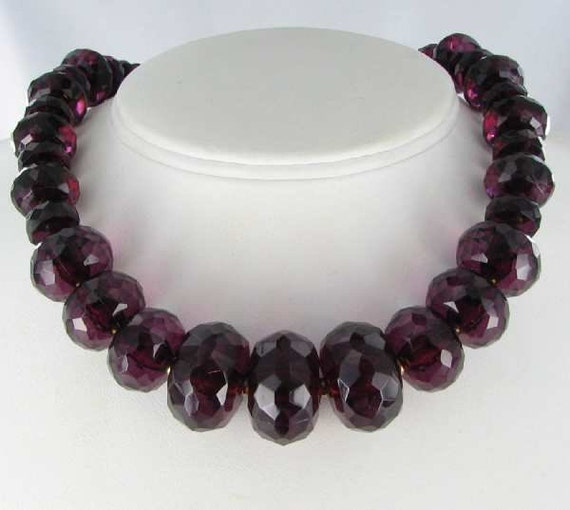 Chunky Big Bead Burgundy Choker Necklace Faceted Lucite Beads