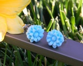 Turquoise Flower Resin Earrings