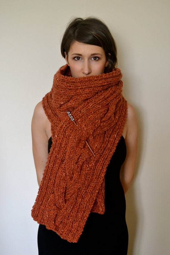 Beautiful burnt orange cable knit scarf made from 100% Donegal Wool