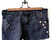 Up-cycled, Studded, Embroidered, Cut Off, Jean Shorts