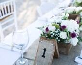Set of 25 Wood & Burlap Rustic Country Wedding Table Numbers 1-25