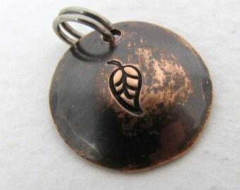 Copper Pendant, Antiqued Leaf