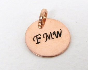 "5/8"" Copper Charm, Initials Copper Pendant"