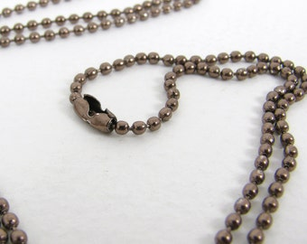 """Coffee Brown Ball Chain Necklace with matching connector - 2mm X 27"""""""