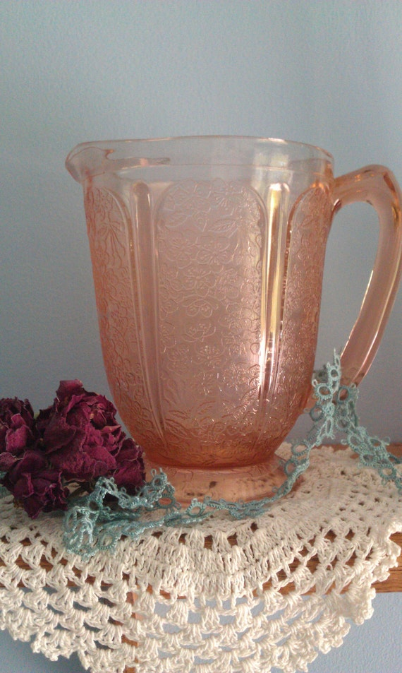 Cherry Blossom Pink Depression Glass Pitcher Jeannette
