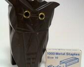 Wooden Owl Stapler Vintage Carved