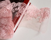 pink Embroidery Tulle Lace Trim for Jewlery Supplies, Bridal Supplies,1 yard romantic embroidery lace