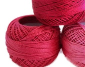 coton yarn 3 balls, fine crochet 8 number,100% mercerized cotton,three tons of pink,One ball's weight is 8gr