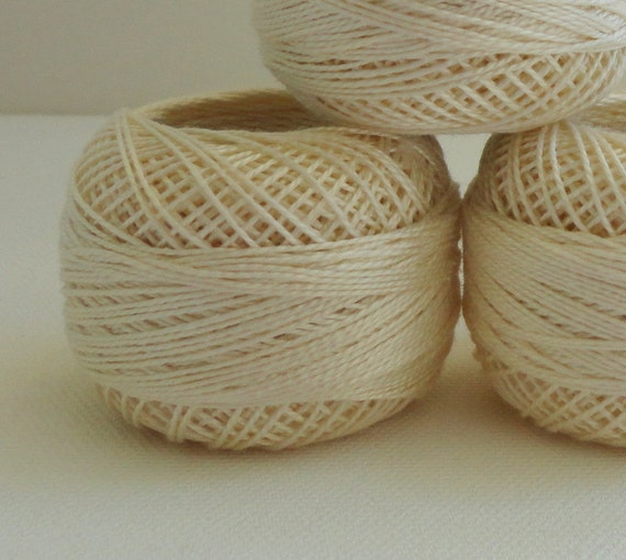 coton yarn 3 balls, fine crochet 8 number,100% mercerized cotton,ivory,One ball's weight is 8gr