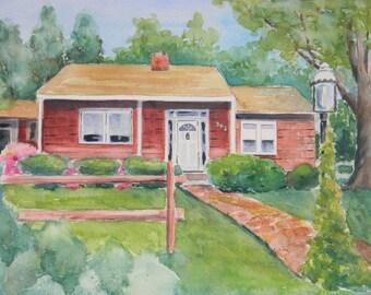 Example of one of my Original Custom Watercolor House Art by Sally Tia Crisp Original Art