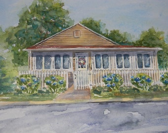 Example of one of my Custom Watercolor House Portraits by Sally Tia Crisp  Architectural Rendering