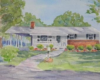 Custom Watercolor House Painting Example by Sally Tia Crisp Architectural Rendering