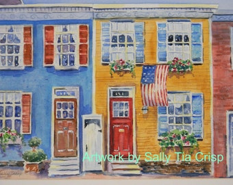 Custom Watercolor House Portraits by Sally T. Crisp Creations Annapolis Historic Home with Flag